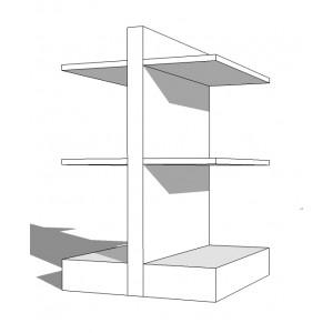 Scaffalatura da negozio modulo centrale Base 30 Altezza 140 Larghezza 133 cm